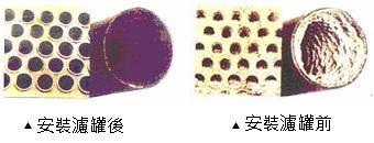 松井清管技研:神奇水晶靈.防鏽抑垢濾罐,安裝濾罐前後